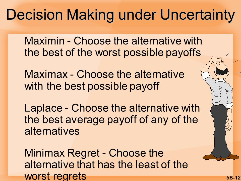 5S-12 Maximin - Choose the alternative with the best of the worst possible payoffs Maximax - Choose the alternative with the best possible payoff Laplace - Choose the alternative with the best average payoff of any of the alternatives Minimax Regret - Choose the alternative that has the least of the worst regrets Decision Making under Uncertainty