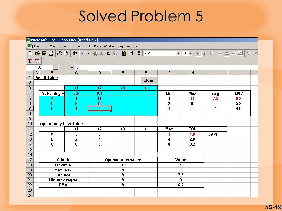 5S-19 Solved Problem 5