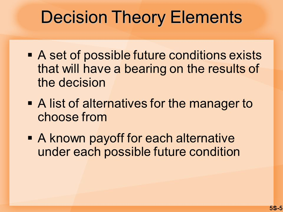 5S-5  A set of possible future conditions exists that will have a bearing on the results of the decision  A list of alternatives for the manager to choose from  A known payoff for each alternative under each possible future condition Decision Theory Elements