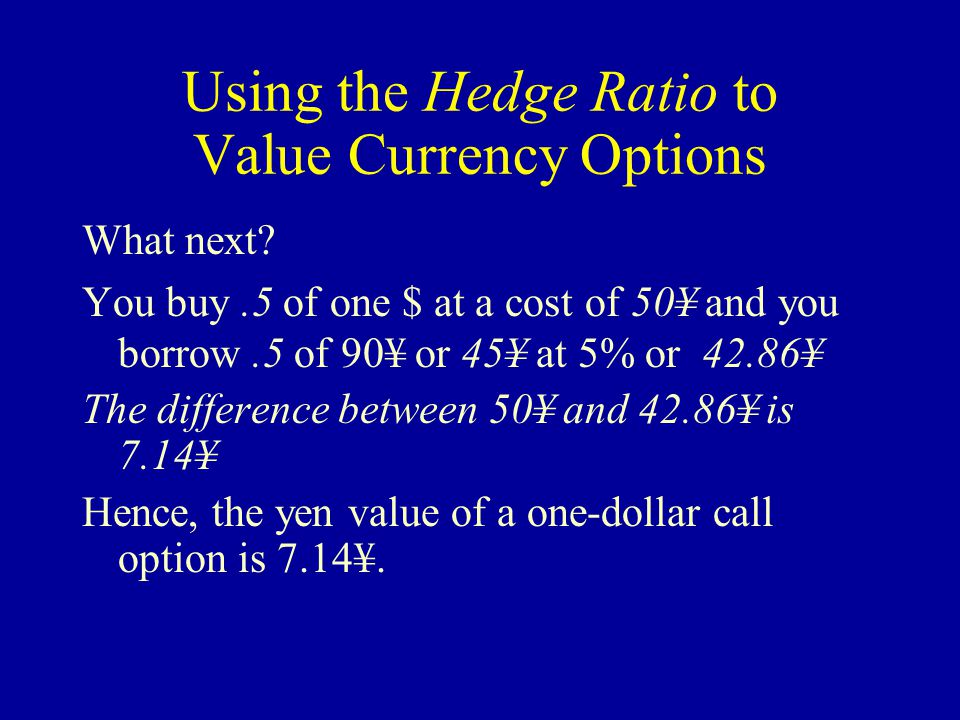 Using the Hedge Ratio to Value Currency Options What next?