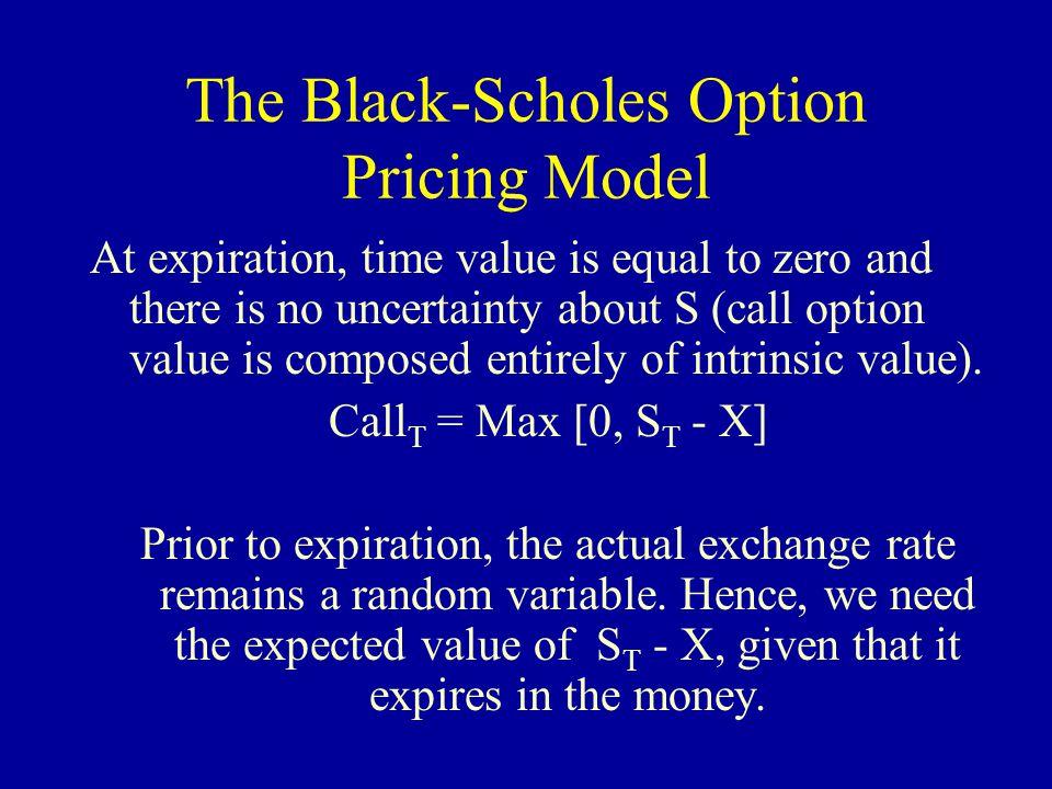 The Black-Scholes Option Pricing Model Call = [S*N(d 1 )] - [e -iT *X* N(d 2 )] d 1 = [ln(S/X) + (i + (    (    d 2 = d 1 -   e -