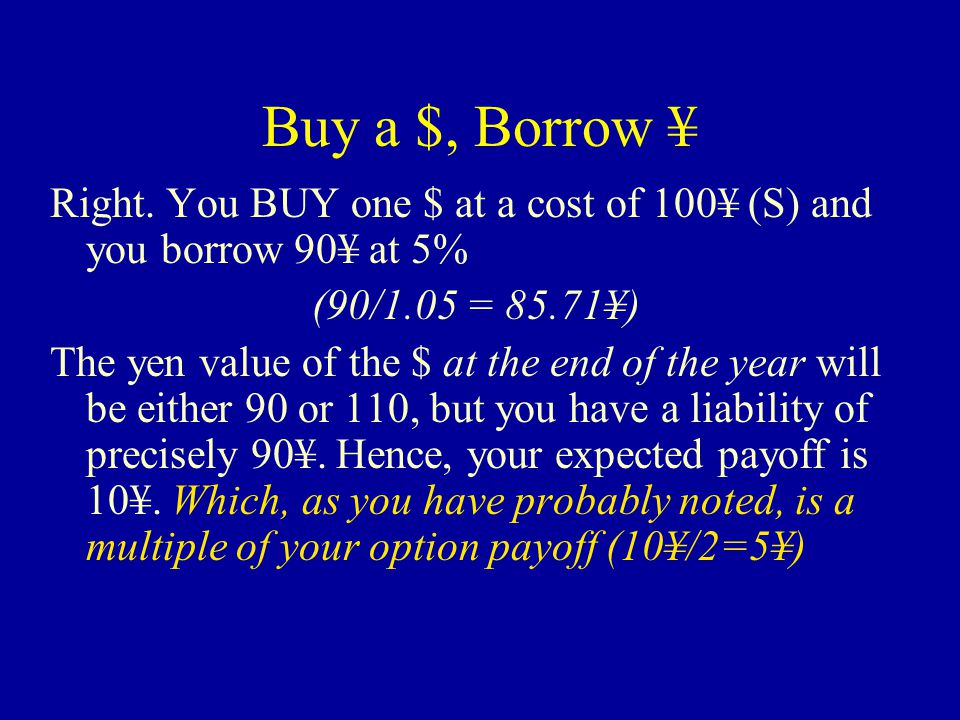 Buy a $, Borrow ¥ Next, let's replicate the call option payoffs with money market instruments and then find its value.
