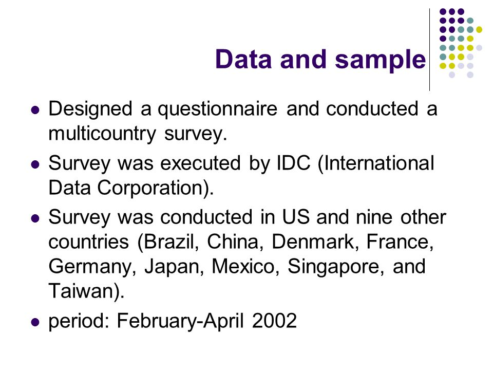 Data and sample Designed a questionnaire and conducted a multicountry survey.