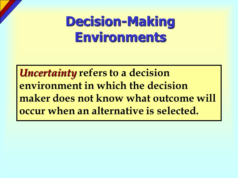 Decision Criteria expected-value criterion The expected-value criterion is a decision criterion that employs probability to select the alternative that will produce the greatest average payoff or minimum average loss.