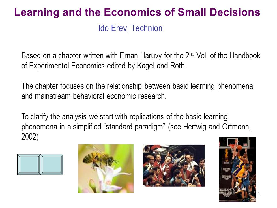 1 Learning and the Economics of Small Decisions Ido Erev, Technion Based on a chapter written with Ernan Haruvy for the 2 nd Vol. of the Handbook of E