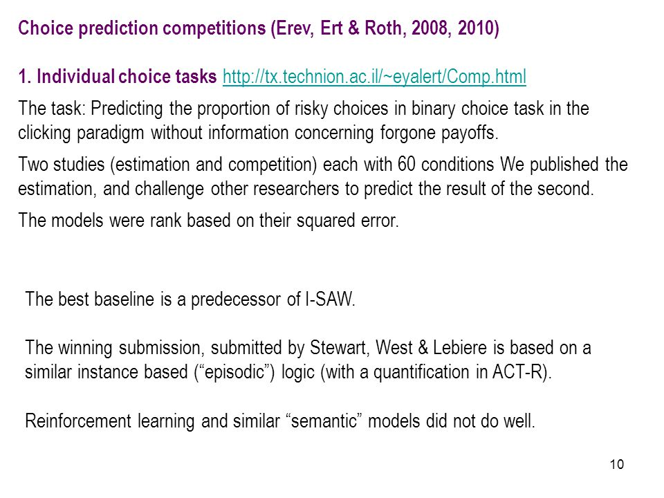 10 Choice prediction competitions (Erev, Ert & Roth, 2008, 2010) 1. Individual choice tasks http://tx.technion.ac.il/~eyalert/Comp.html http://tx.tech