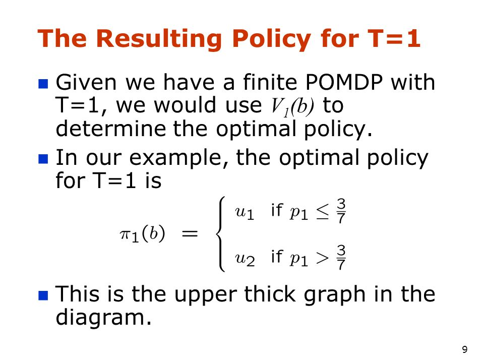 9 The Resulting Policy for T=1 Given we have a finite POMDP with T=1, we would use V 1 (b) to determine the optimal policy.