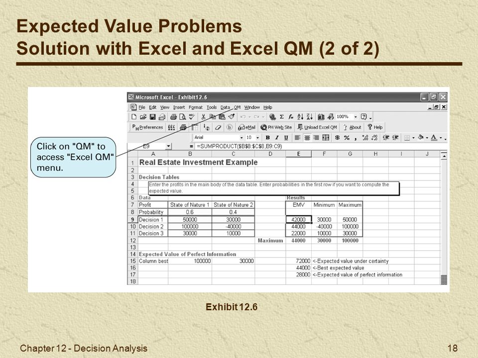 Chapter 12 - Decision Analysis 18 Exhibit 12.6 Expected Value Problems Solution with Excel and Excel QM (2 of 2)