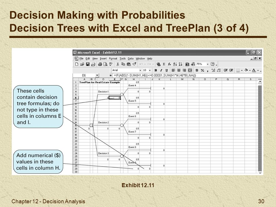 Chapter 12 - Decision Analysis 30 Exhibit 12.11 Decision Making with Probabilities Decision Trees with Excel and TreePlan (3 of 4)