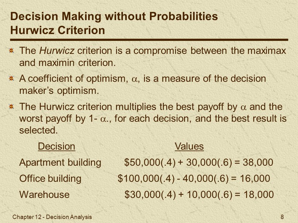 Chapter 12 - Decision Analysis 8 The Hurwicz criterion is a compromise between the maximax and maximin criterion.