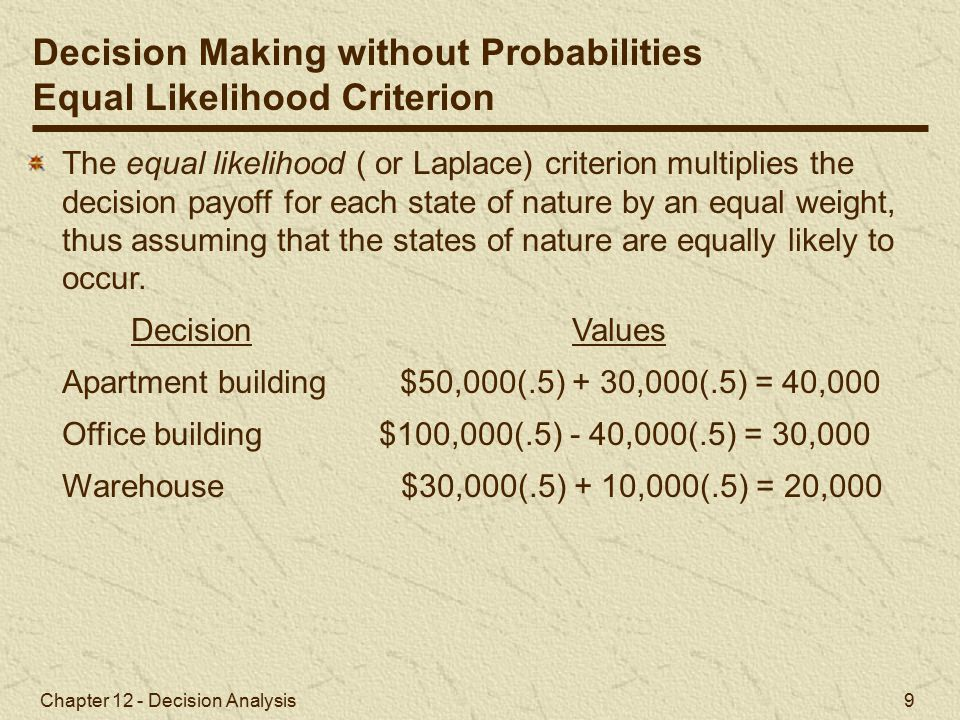 Chapter 12 - Decision Analysis 9 The equal likelihood ( or Laplace) criterion multiplies the decision payoff for each state of nature by an equal weight, thus assuming that the states of nature are equally likely to occur.