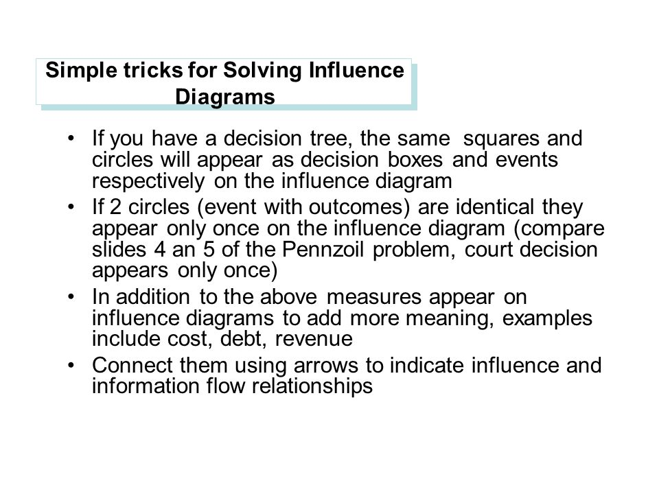 Simple tricks for Solving Influence Diagrams If you have a decision tree, the same squares and circles will appear as decision boxes and events respectively on the influence diagram If 2 circles (event with outcomes) are identical they appear only once on the influence diagram (compare slides 4 an 5 of the Pennzoil problem, court decision appears only once) In addition to the above measures appear on influence diagrams to add more meaning, examples include cost, debt, revenue Connect them using arrows to indicate influence and information flow relationships