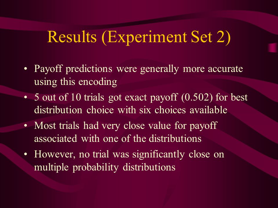 Results (Experiment Set 2) Payoff predictions were generally more accurate using this encoding 5 out of 10 trials got exact payoff (0.502) for best distribution choice with six choices available Most trials had very close value for payoff associated with one of the distributions However, no trial was significantly close on multiple probability distributions
