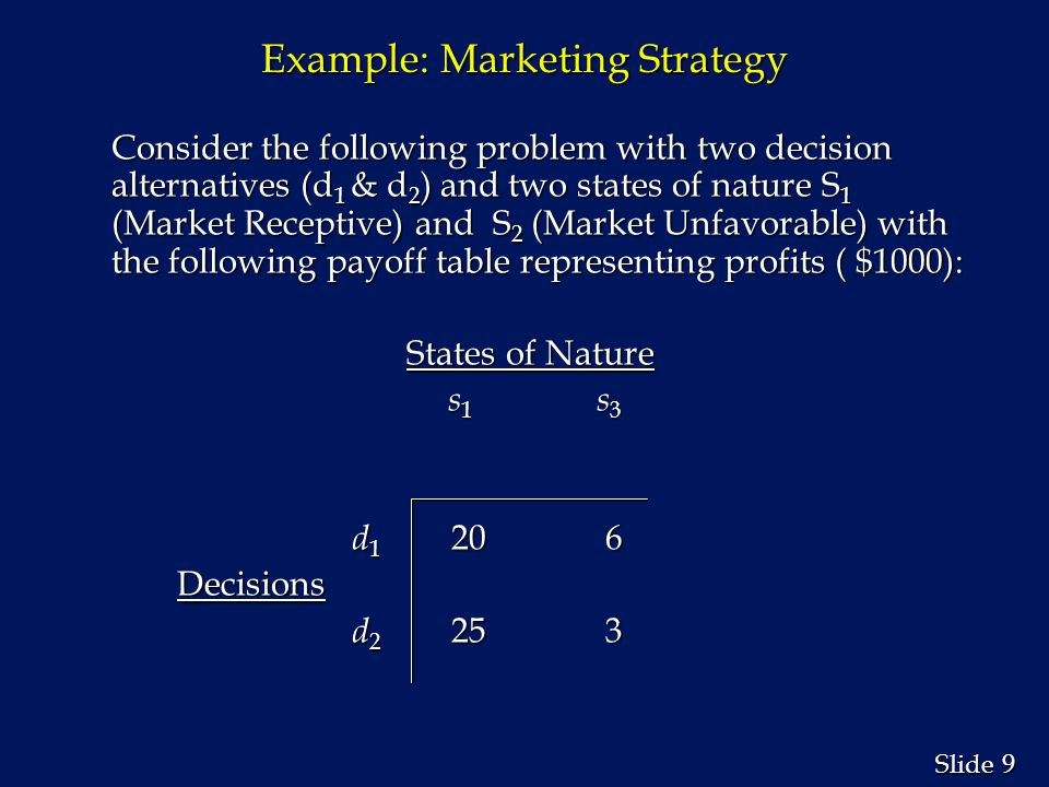 9 9 Slide Example: Marketing Strategy Consider the following problem with two decision alternatives (d 1 & d 2 ) and two states of nature S 1 (Market