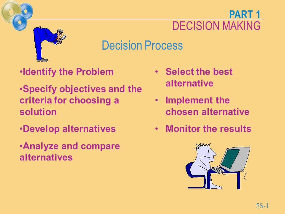 PART 1 DECISION MAKING 5S-2 Causes of Poor Decisions Bounded Rationality The limitations on decision making caused by costs, human abilities, time, technology, and availability of information.
