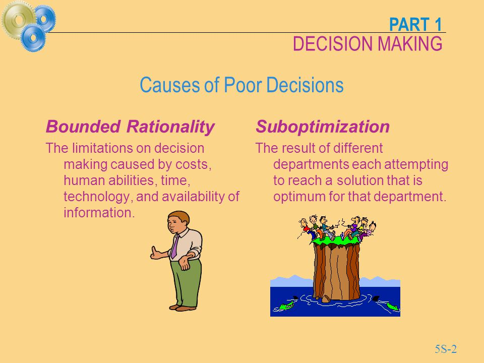 PART 1 DECISION MAKING 5S-3 Decision Theory Decision Theory Decision Theory represents a general approach to decision making which is suitable for a wide range of operations management decisions, including: capacity planning product and service design equipment selection location planning
