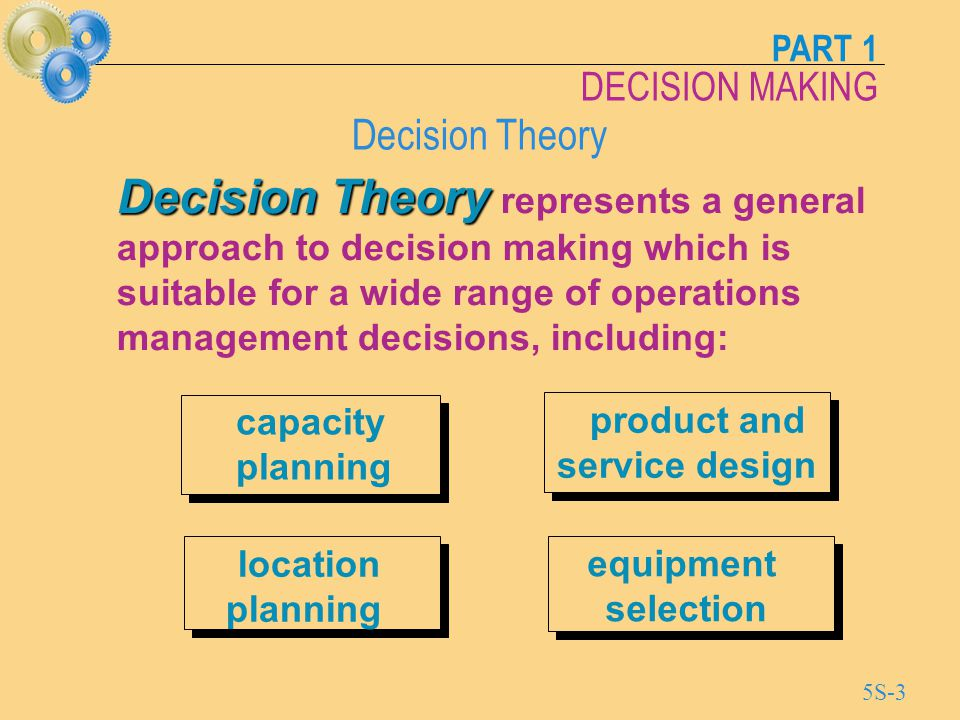 PART 1 DECISION MAKING 5S-14 Format of a Decision Tree State of nature 1 B Payoff 1 State of nature 2 Payoff 2 Payoff 3 2 Choose A' 1 Choose A' 2 Payoff 6 State of nature 2 2 Payoff 4 Payoff 5 Choose A' 3 Choose A' 4 State of nature 1 Choose A' Choose A' 2 1 Decision Point Chance Event