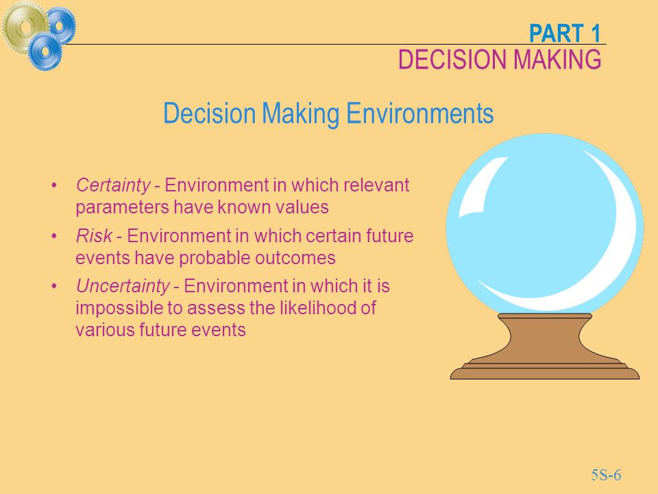 PART 1 DECISION MAKING 5S-7 Decision Making under Certainty Possible future demand* *Present value in $ millions