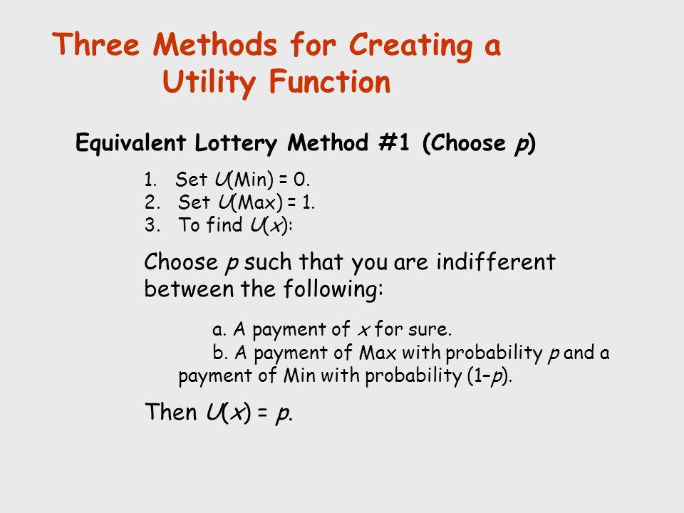 Three Methods for Creating a Utility Function Equivalent Lottery Method #1 (Choose p) 1. Set U(Min) = 0. 2. Set U(Max) = 1. 3. To find U(x): Choose p