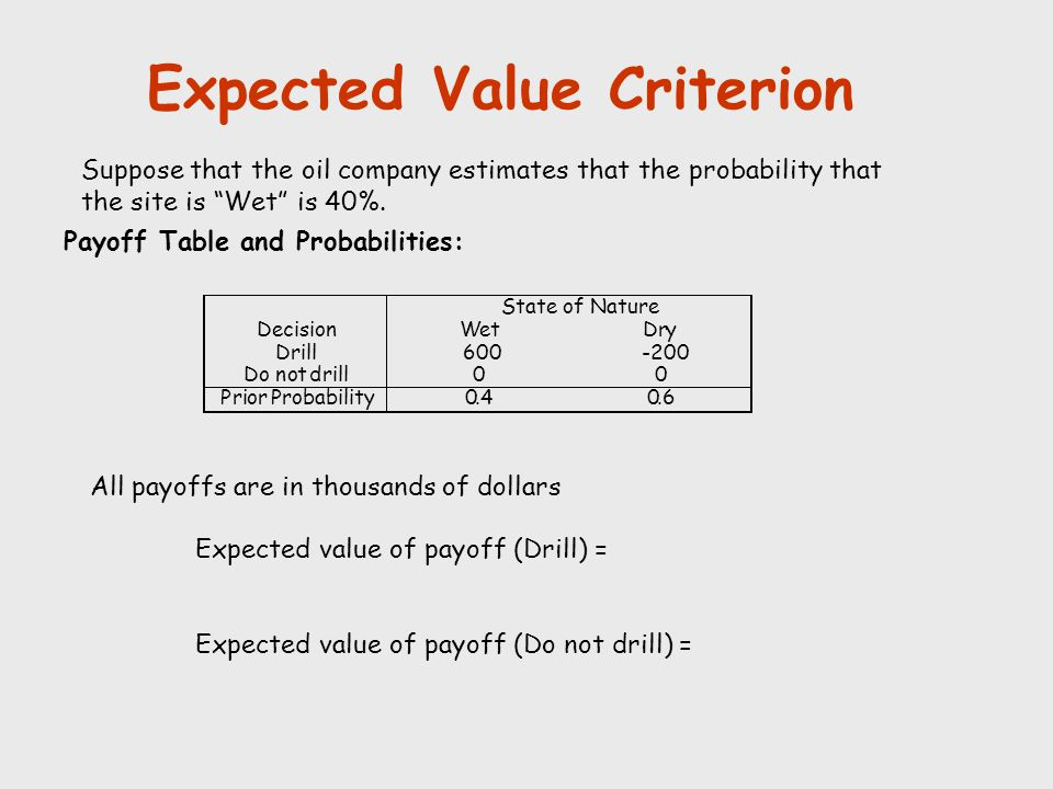 """Expected Value Criterion Suppose that the oil company estimates that the probability that the site is """"Wet"""" is 40%. Payoff Table and Probabilities: Al"""