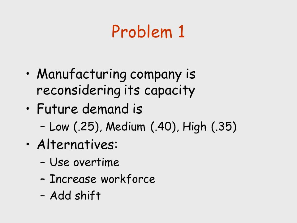 Problem 1 Manufacturing company is reconsidering its capacity Future demand is –Low (.25), Medium (.40), High (.35) Alternatives: –Use overtime –Incre