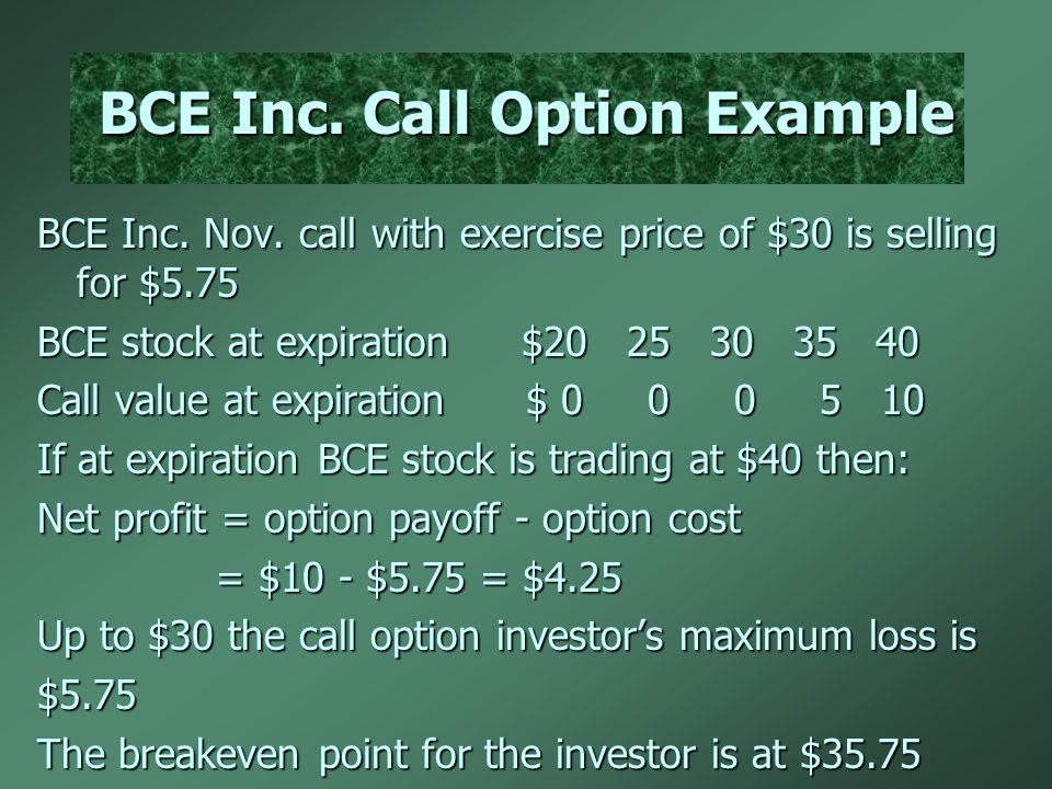 BCE Inc. Call Option Example BCE Inc. Nov.
