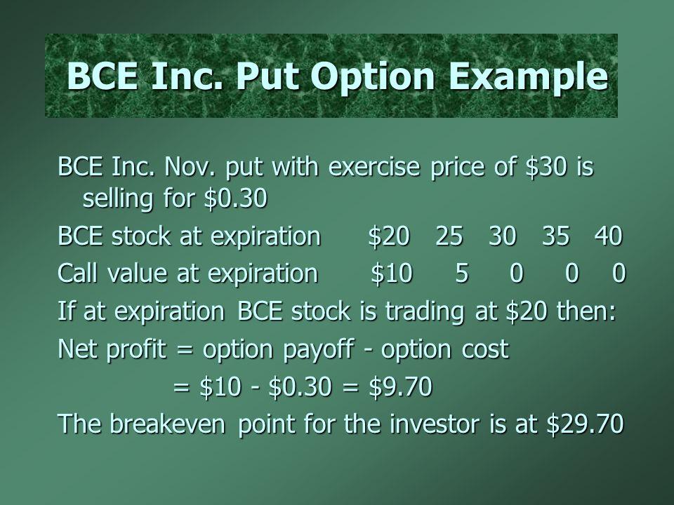 BCE Inc. Put Option Example BCE Inc. Nov.