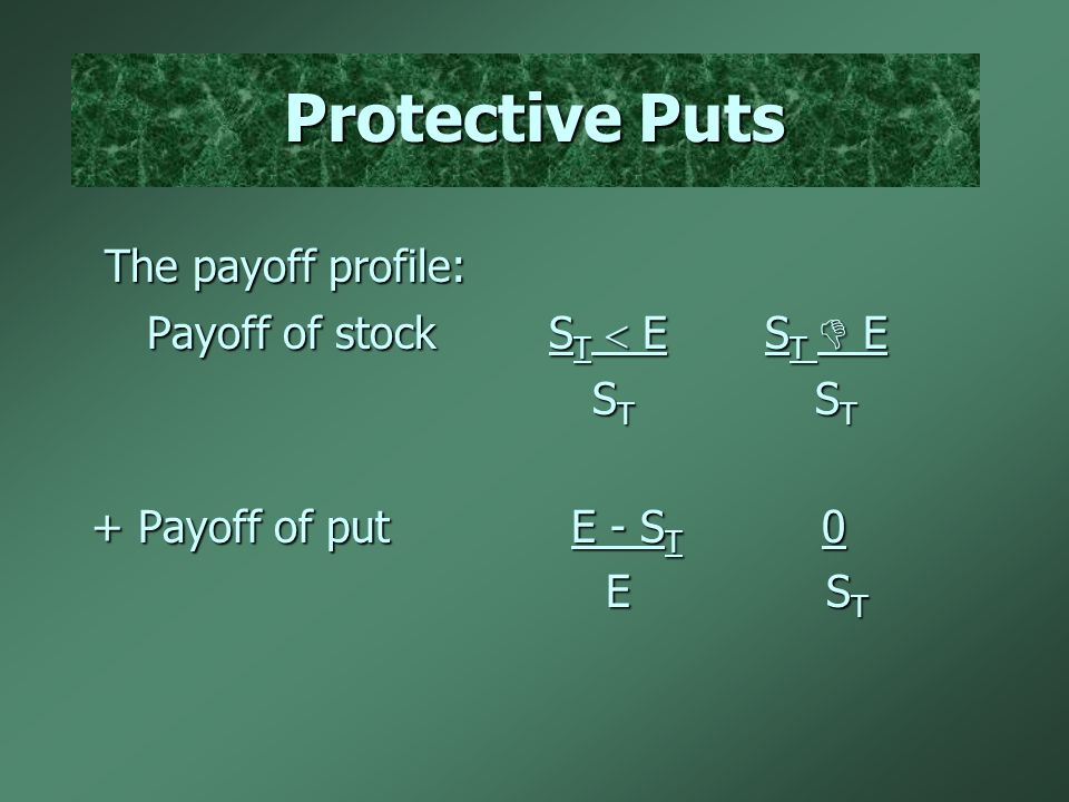 Protective Puts The payoff profile: The payoff profile: Payoff of stock S T  E S T  E Payoff of stock S T  E S T  E S T S T S T S T + Payoff of put E - S T 0 E S T E S T