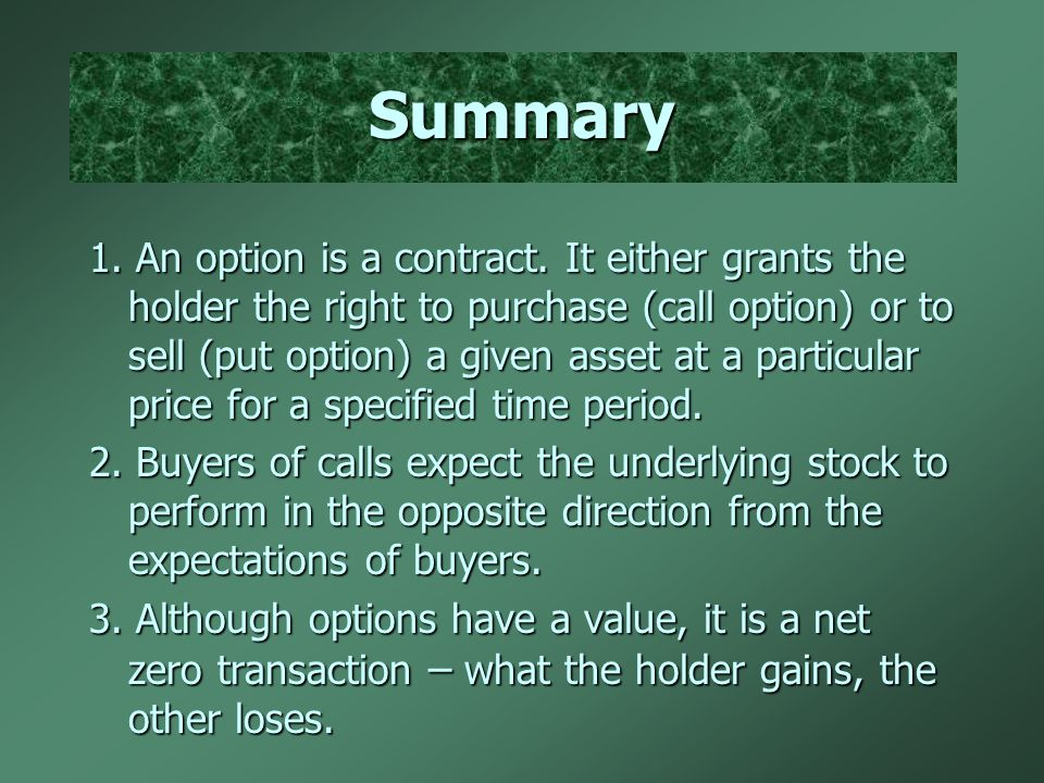 Summary 1. An option is a contract.