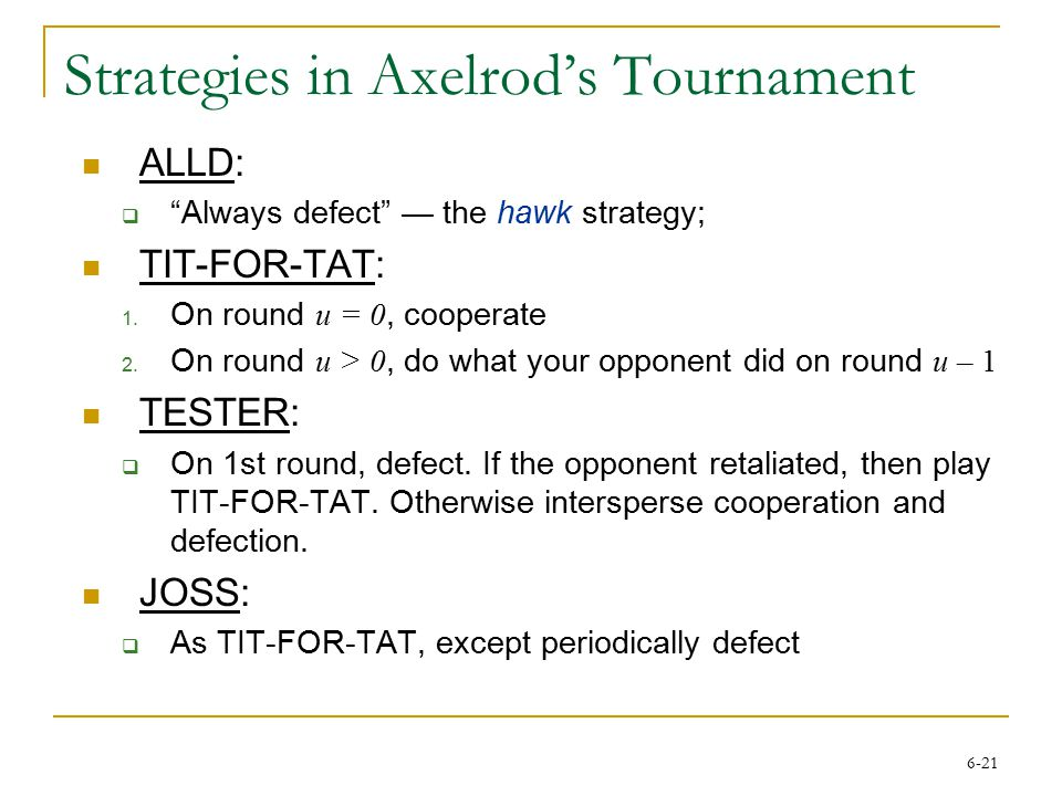 6-21 Strategies in Axelrod's Tournament ALLD:  Always defect — the hawk strategy; TIT-FOR-TAT: 1.