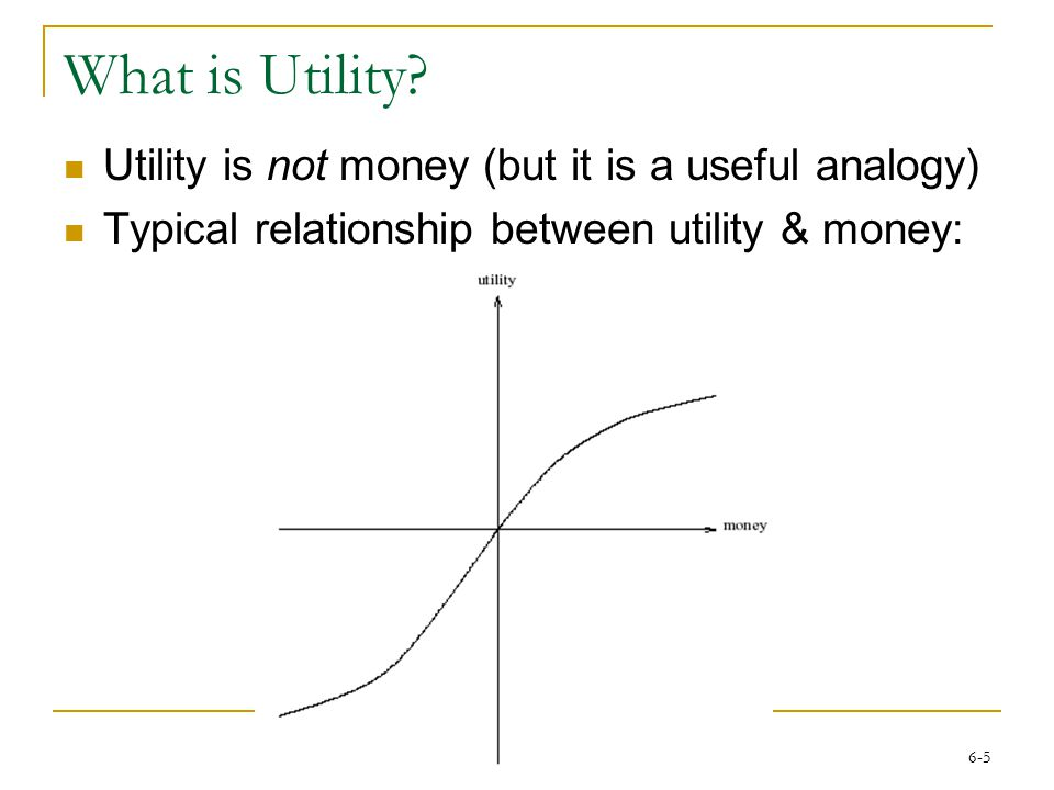 6-5 What is Utility? Utility is not money (but it is a useful analogy) Typical relationship between utility & money: