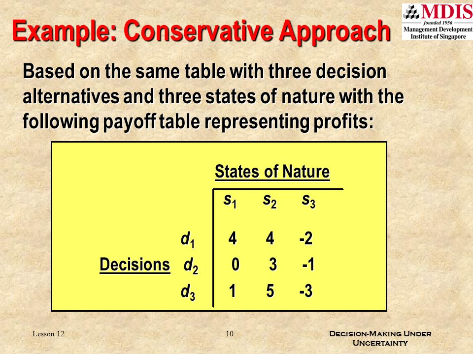 10 Decision-Making Under Uncertainty Lesson 12 Example: Conservative Approach Based on the same table with three decision alternatives and three state