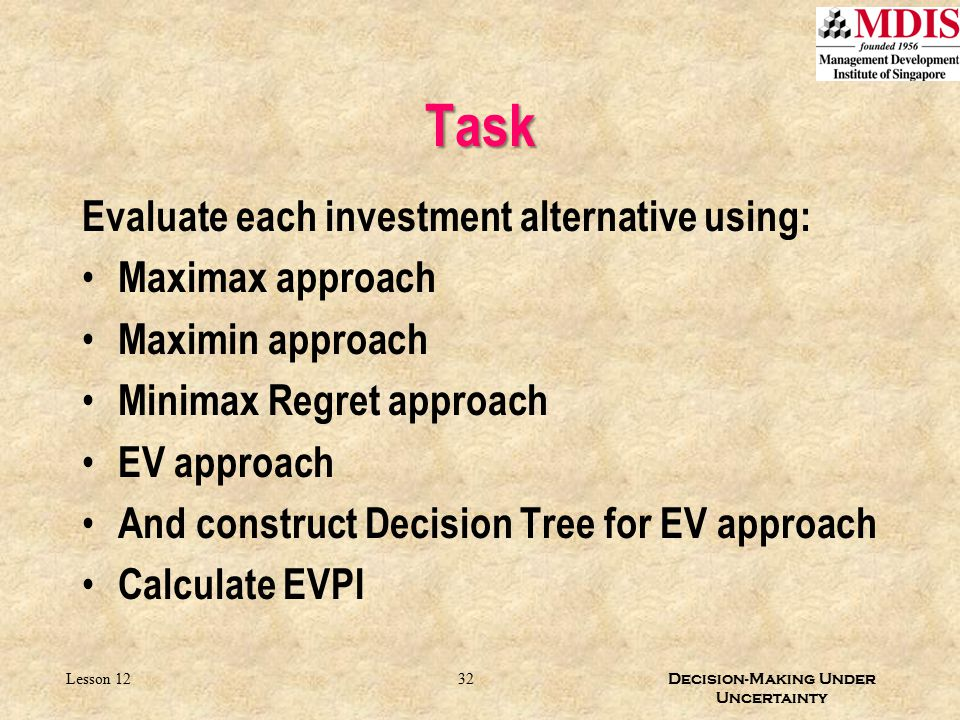 32 Decision-Making Under Uncertainty Lesson 12 Task Evaluate each investment alternative using: Maximax approach Maximin approach Minimax Regret appro