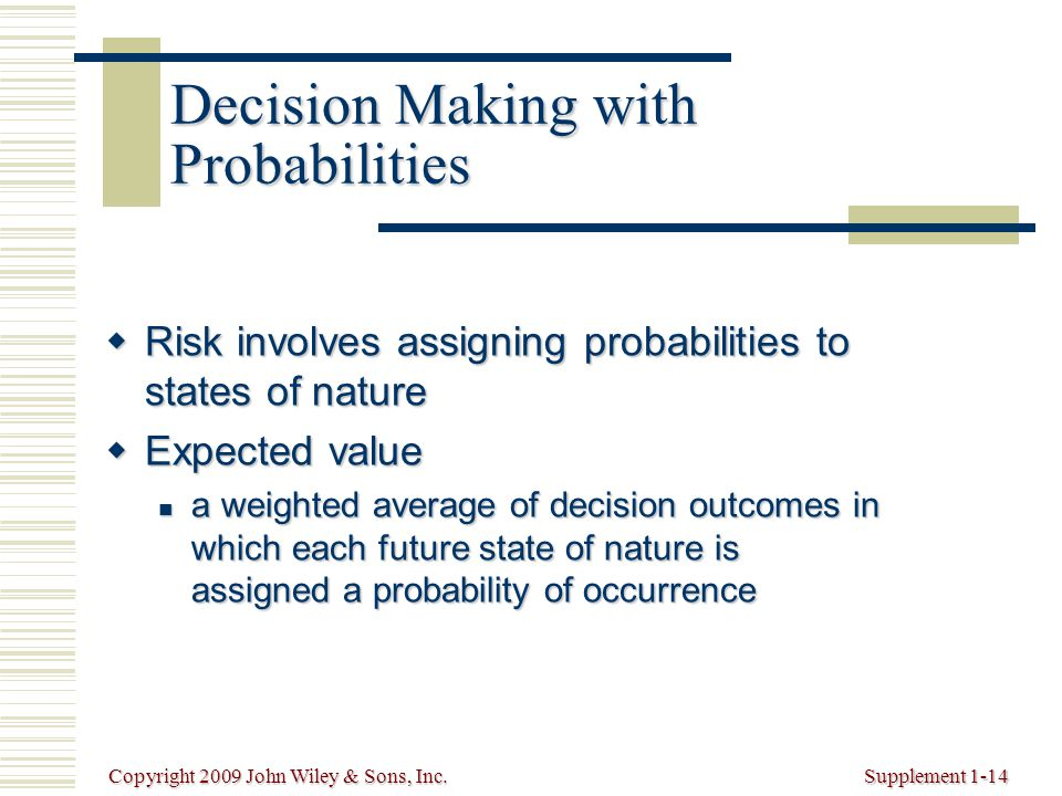 Copyright 2009 John Wiley & Sons, Inc.Supplement 1-14 Decision Making with Probabilities  Risk involves assigning probabilities to states of nature  Expected value a weighted average of decision outcomes in which each future state of nature is assigned a probability of occurrence a weighted average of decision outcomes in which each future state of nature is assigned a probability of occurrence