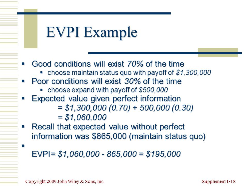 Copyright 2009 John Wiley & Sons, Inc.Supplement 1-18 EVPI Example  Good conditions will exist 70% of the time  choose maintain status quo with payoff of $1,300,000  Poor conditions will exist 30% of the time  choose expand with payoff of $500,000  Expected value given perfect information = $1,300,000 (0.70) + 500,000 (0.30) = $1,060,000  Recall that expected value without perfect information was $865,000 (maintain status quo)  EVPI= $1,060,000 - 865,000 = $195,000