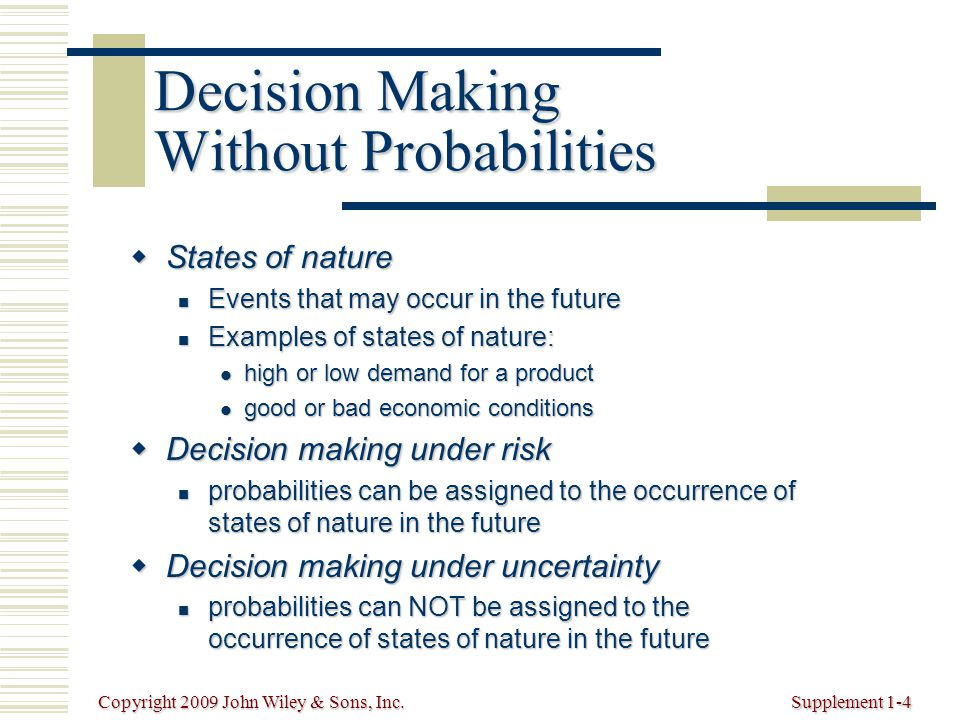 Copyright 2009 John Wiley & Sons, Inc.Supplement 1-4 Decision Making Without Probabilities  States of nature Events that may occur in the future Events that may occur in the future Examples of states of nature: Examples of states of nature: high or low demand for a product high or low demand for a product good or bad economic conditions good or bad economic conditions  Decision making under risk probabilities can be assigned to the occurrence of states of nature in the future probabilities can be assigned to the occurrence of states of nature in the future  Decision making under uncertainty probabilities can NOT be assigned to the occurrence of states of nature in the future probabilities can NOT be assigned to the occurrence of states of nature in the future