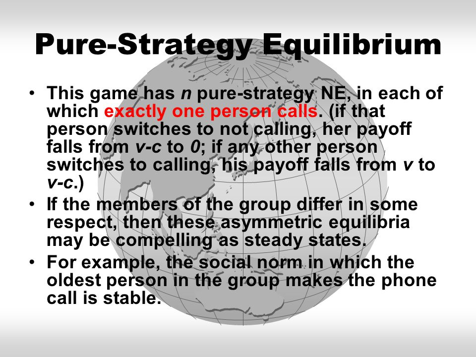 Pure-Strategy Equilibrium This game has n pure-strategy NE, in each of which exactly one person calls.