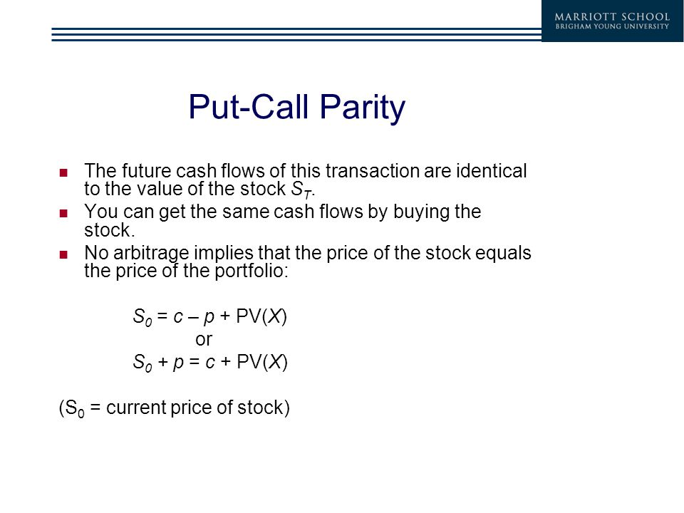 Put-Call Parity The future cash flows of this transaction are identical to the value of the stock S T.
