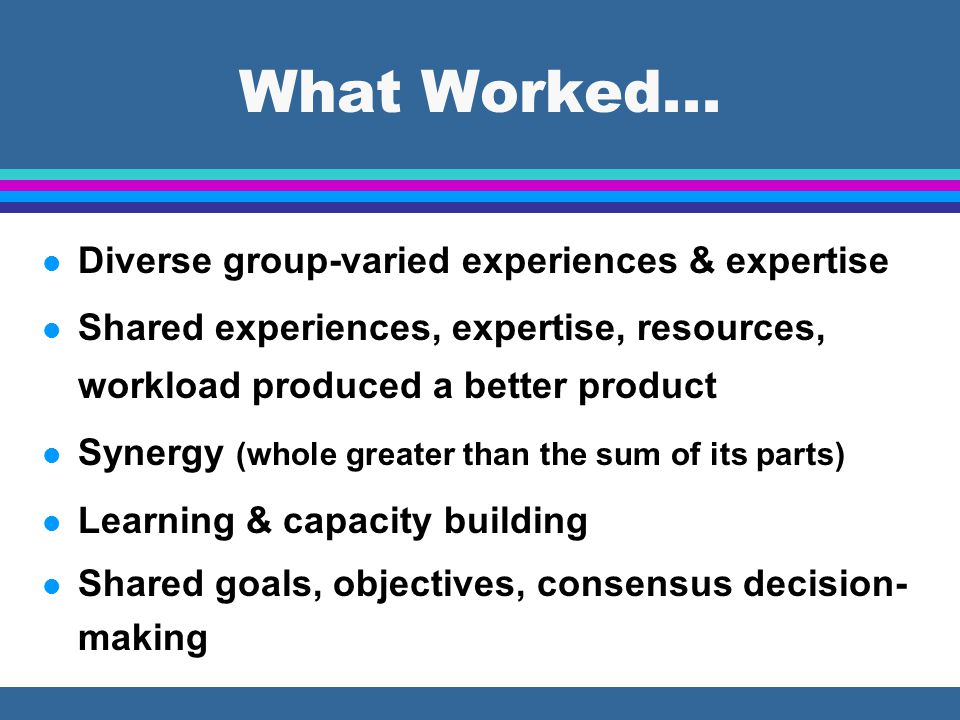 l Diverse group-varied experiences & expertise l Shared experiences, expertise, resources, workload produced a better product l Synergy (whole greater