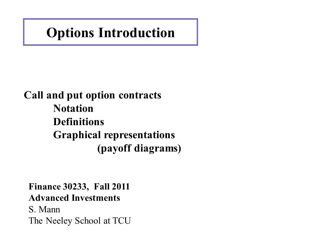 Options Introduction Finance 30233, Fall 2011 Advanced Investments S.