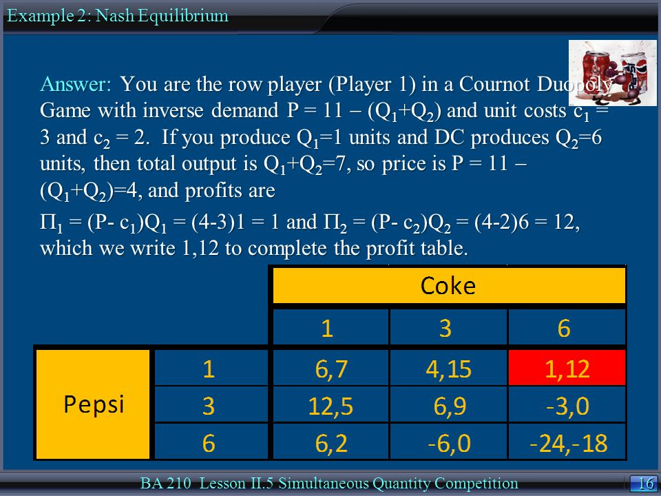 16 BA 210 Lesson II.5 Simultaneous Quantity Competition Answer: You are the row player (Player 1) in a Cournot Duopoly Game with inverse demand P = 11  (Q 1 +Q 2 ) and unit costs c 1 = 3 and c 2 = 2.