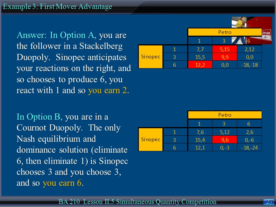 27 BA 210 Lesson II.5 Simultaneous Quantity Competition Answer: In Option A, you are the follower in a Stackelberg Duopoly.