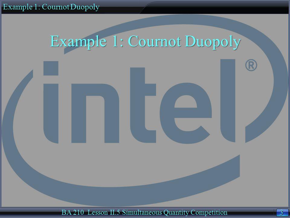 24 BA 210 Lesson II.5 Simultaneous Quantity Competition Option A.