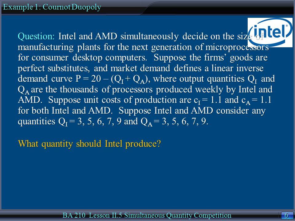 47 BA 210 Lesson II.5 Simultaneous Quantity CompetitionSummarySummary