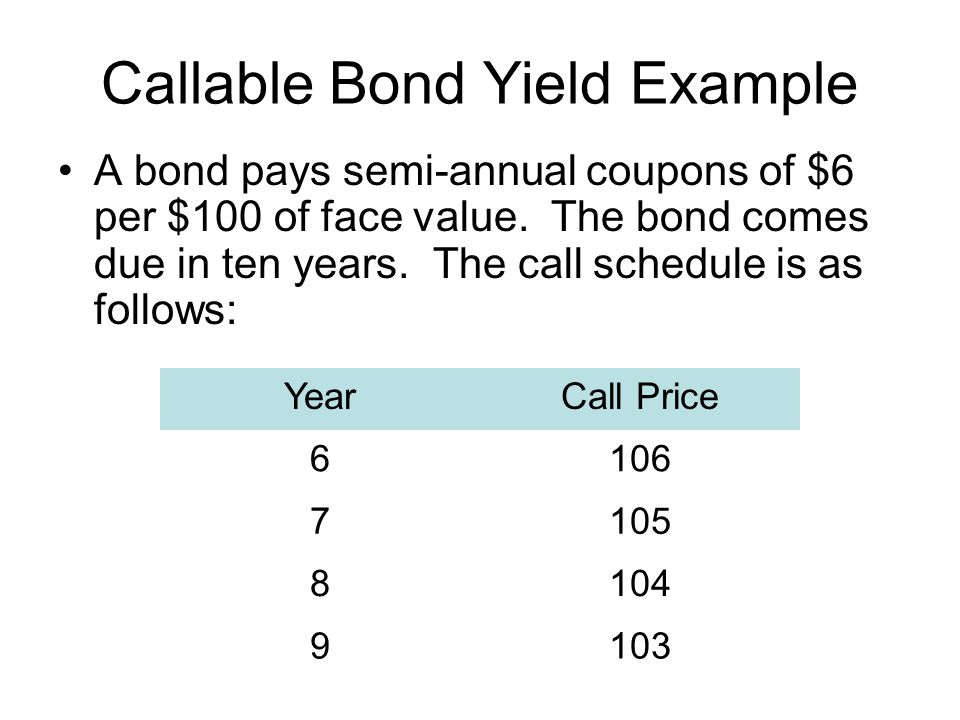Callable Bond Yield Example A bond pays semi-annual coupons of $6 per $100 of face value.