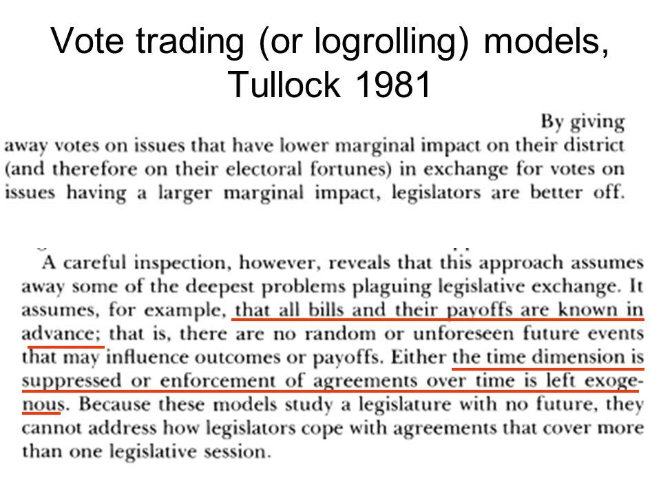 Vote trading (or logrolling) models, Tullock 1981