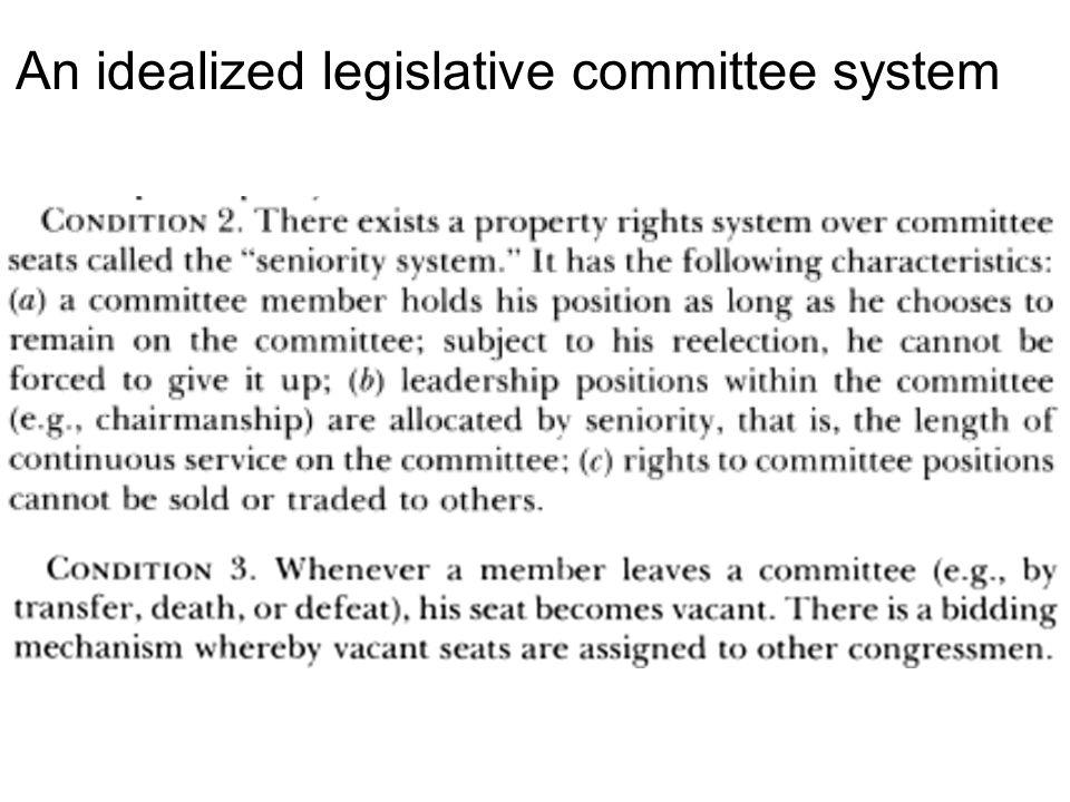 An idealized legislative committee system