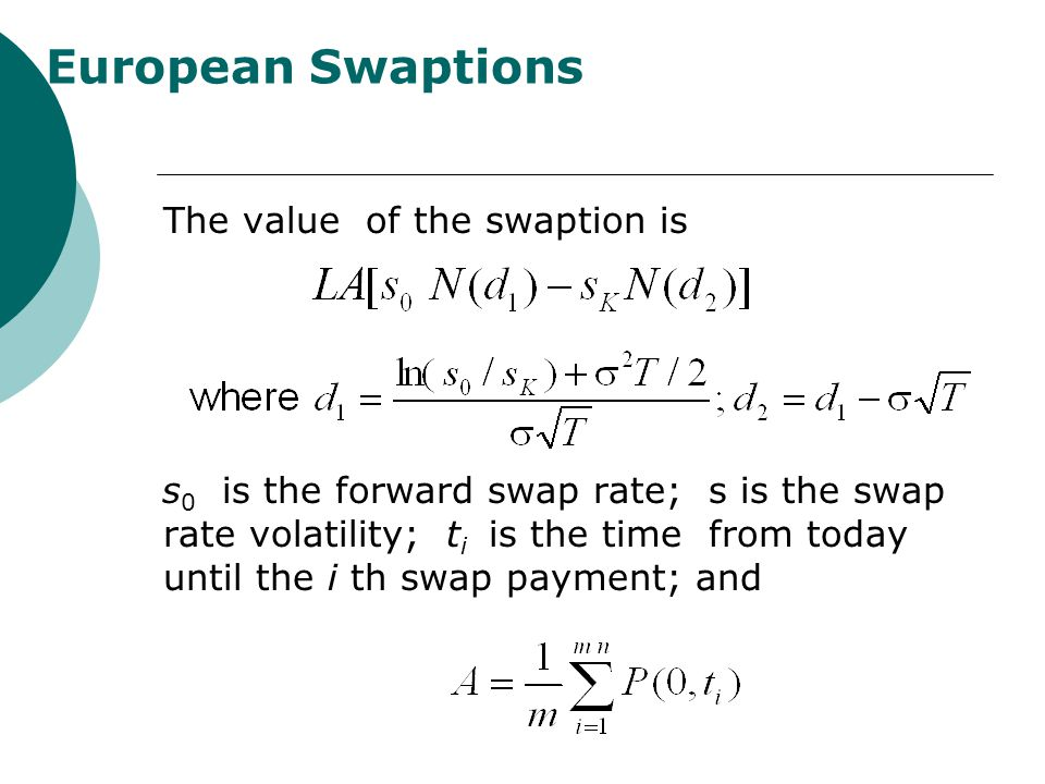 European Swaptions The value of the swaption is s 0 is the forward swap rate; s is the swap rate volatility; t i is the time from today until the i th swap payment; and