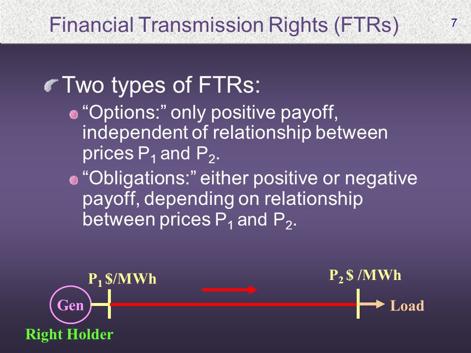 7 Financial Transmission Rights (FTRs) Two types of FTRs: Options: only positive payoff, independent of relationship between prices P 1 and P 2.
