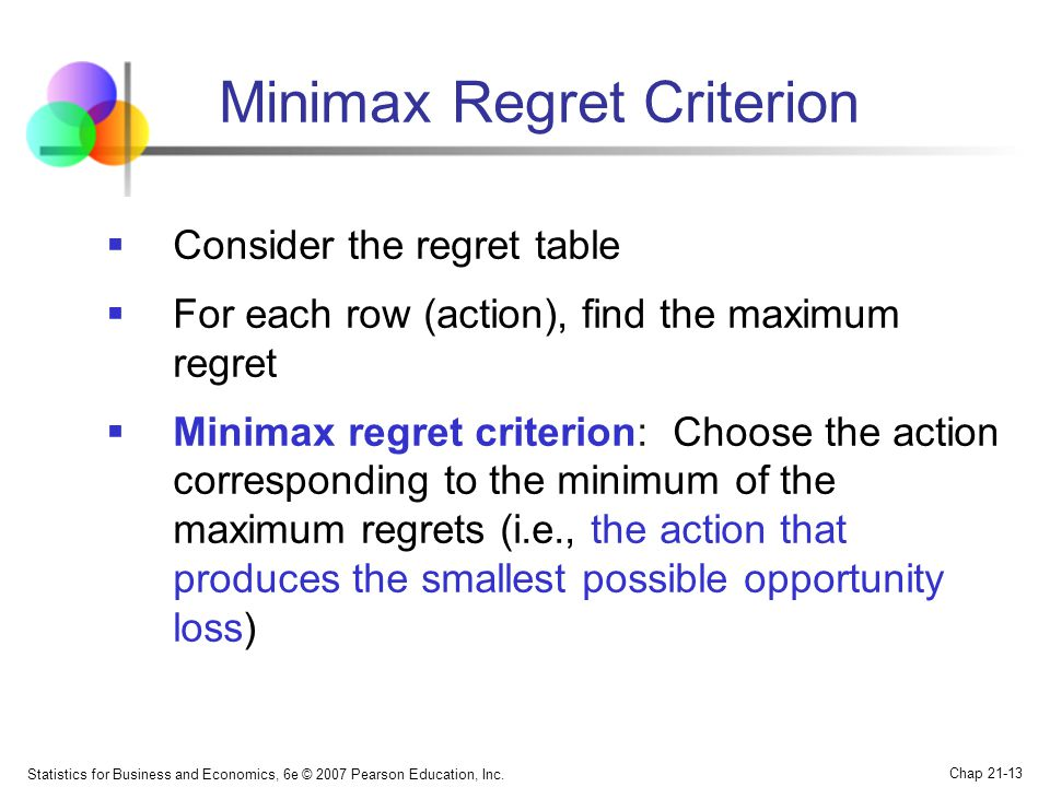 Statistics for Business and Economics, 6e © 2007 Pearson Education, Inc. Chap 21-13 Minimax Regret Criterion  Consider the regret table  For each ro